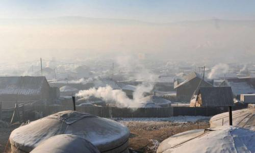 Winter in the world's coldest capital, Ulaanbaatar. Coal fires keep the thin-walled gers warm, but air pollution soars making the city the second worst worldwide according to the World Health Organization.